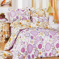 Baby Pink, 100% Cotton 4PC Duvet Cover Set (Full Size)